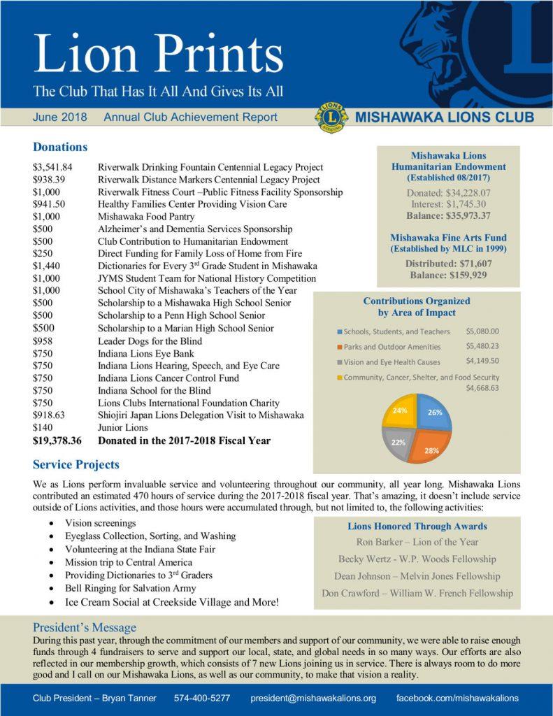 Mishawaka Lions Annual Report